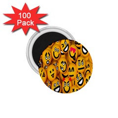 Smileys Linus Face Mask Cute Yellow 1 75  Magnets (100 Pack)  by Mariart