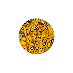 Smileys Linus Face Mask Cute Yellow Golf Ball Marker by Mariart