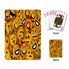 Smileys Linus Face Mask Cute Yellow Playing Card by Mariart
