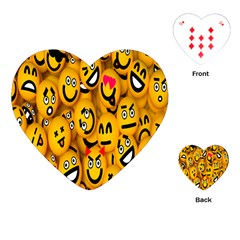 Smileys Linus Face Mask Cute Yellow Playing Cards (heart)  by Mariart