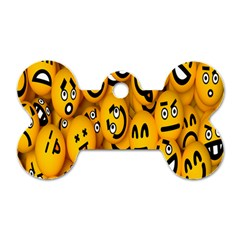 Smileys Linus Face Mask Cute Yellow Dog Tag Bone (two Sides) by Mariart