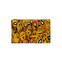 Smileys Linus Face Mask Cute Yellow Cosmetic Bag (small)  by Mariart