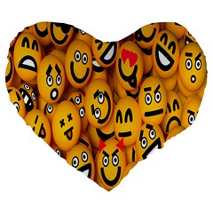 Smileys Linus Face Mask Cute Yellow Large 19  Premium Heart Shape Cushions by Mariart