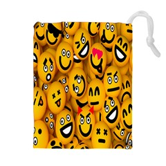 Smileys Linus Face Mask Cute Yellow Drawstring Pouches (extra Large) by Mariart