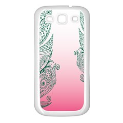 Toggle The Widget Bar Leaf Green Pink Samsung Galaxy S3 Back Case (white) by Mariart