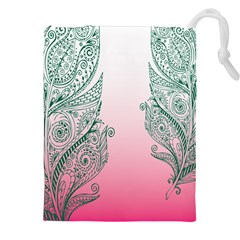 Toggle The Widget Bar Leaf Green Pink Drawstring Pouches (xxl) by Mariart