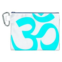 Aum Om Cyan Canvas Cosmetic Bag (xxl) by abbeyz71