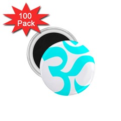 Aum Om Cyan 1 75  Magnets (100 Pack)  by abbeyz71