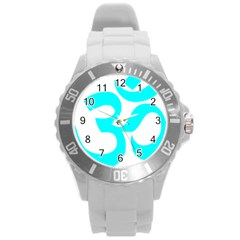Aum Om Cyan Round Plastic Sport Watch (l) by abbeyz71