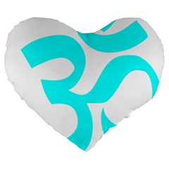 Aum Om Cyan Large 19  Premium Heart Shape Cushions by abbeyz71