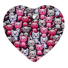 Cute Doodle Wallpaper Cute Kawaii Doodle Cats Ornament (heart)