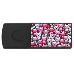 Cute Doodle Wallpaper Cute Kawaii Doodle Cats Usb Flash Drive Rectangular (4 Gb)
