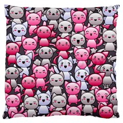 Cute Doodle Wallpaper Cute Kawaii Doodle Cats Large Cushion Case (two Sides)