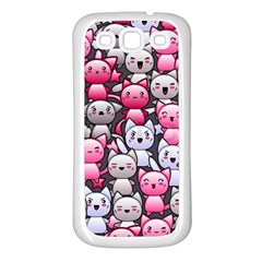 Cute Doodle Wallpaper Cute Kawaii Doodle Cats Samsung Galaxy S3 Back Case (white)