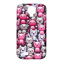 Cute Doodle Wallpaper Cute Kawaii Doodle Cats Samsung Galaxy S4 Classic Hardshell Case (pc+silicone)