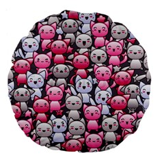 Cute Doodle Wallpaper Cute Kawaii Doodle Cats Large 18  Premium Flano Round Cushions by Nexatart