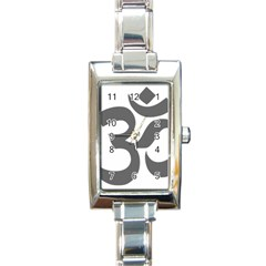 Hindu Om Symbol (dark Gray)  Rectangle Italian Charm Watch by abbeyz71