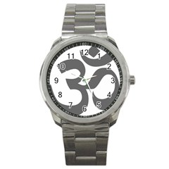 Hindu Om Symbol (dark Gray)  Sport Metal Watch by abbeyz71