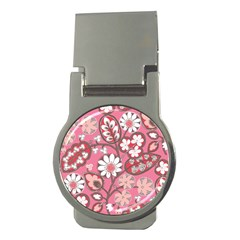 Pink Flower Pattern Money Clips (round)  by Nexatart