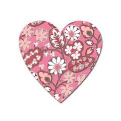 Pink Flower Pattern Heart Magnet by Nexatart