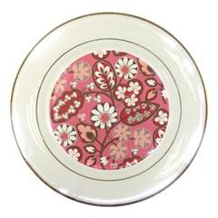 Pink Flower Pattern Porcelain Plates by Nexatart