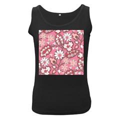 Pink Flower Pattern Women s Black Tank Top