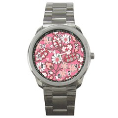 Pink Flower Pattern Sport Metal Watch
