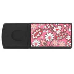 Pink Flower Pattern Usb Flash Drive Rectangular (4 Gb) by Nexatart