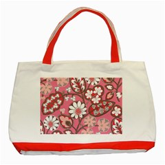 Pink Flower Pattern Classic Tote Bag (red) by Nexatart