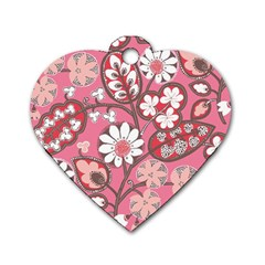 Pink Flower Pattern Dog Tag Heart (one Side)