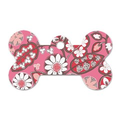 Pink Flower Pattern Dog Tag Bone (two Sides) by Nexatart