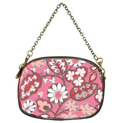 Pink Flower Pattern Chain Purses (two Sides)