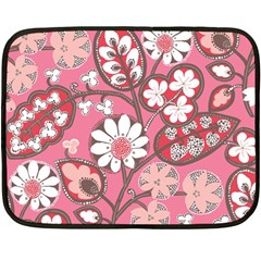 Pink Flower Pattern Double Sided Fleece Blanket (mini)  by Nexatart