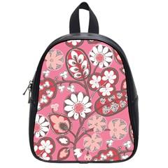 Pink Flower Pattern School Bags (small)  by Nexatart