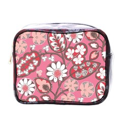 Pink Flower Pattern Mini Toiletries Bags by Nexatart