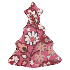 Pink Flower Pattern Ornament (christmas Tree)  by Nexatart