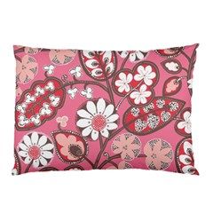 Pink Flower Pattern Pillow Case (two Sides) by Nexatart
