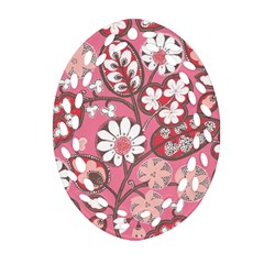 Pink Flower Pattern Oval Filigree Ornament (two Sides) by Nexatart