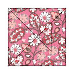 Pink Flower Pattern Acrylic Tangram Puzzle (6  X 6 ) by Nexatart