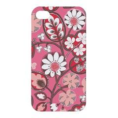 Pink Flower Pattern Apple Iphone 4/4s Premium Hardshell Case by Nexatart