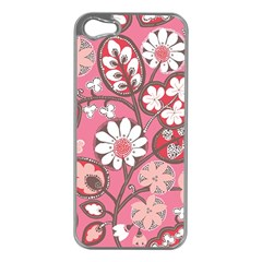 Pink Flower Pattern Apple Iphone 5 Case (silver)