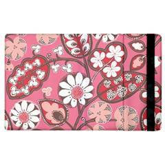 Pink Flower Pattern Apple Ipad 2 Flip Case by Nexatart