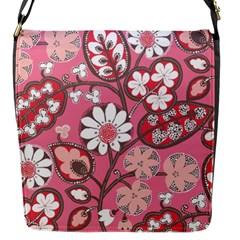 Pink Flower Pattern Flap Messenger Bag (s)