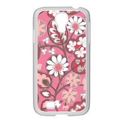 Pink Flower Pattern Samsung Galaxy S4 I9500/ I9505 Case (white) by Nexatart