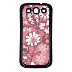 Pink Flower Pattern Samsung Galaxy S3 Back Case (black) by Nexatart