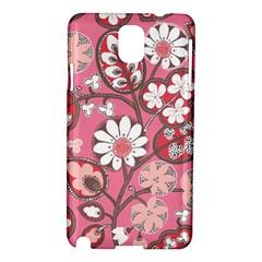 Pink Flower Pattern Samsung Galaxy Note 3 N9005 Hardshell Case by Nexatart
