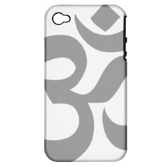 Hindu Om Symbol (light Gray) Apple Iphone 4/4s Hardshell Case (pc+silicone) by abbeyz71