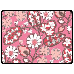 Pink Flower Pattern Double Sided Fleece Blanket (large)  by Nexatart