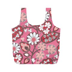 Pink Flower Pattern Full Print Recycle Bags (m)