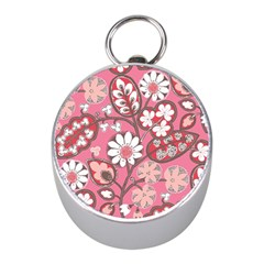 Pink Flower Pattern Mini Silver Compasses